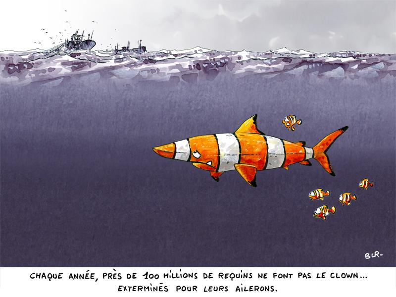 Dessin d-humour. Requin en péril. Un requin déguisé en poisson-clown
